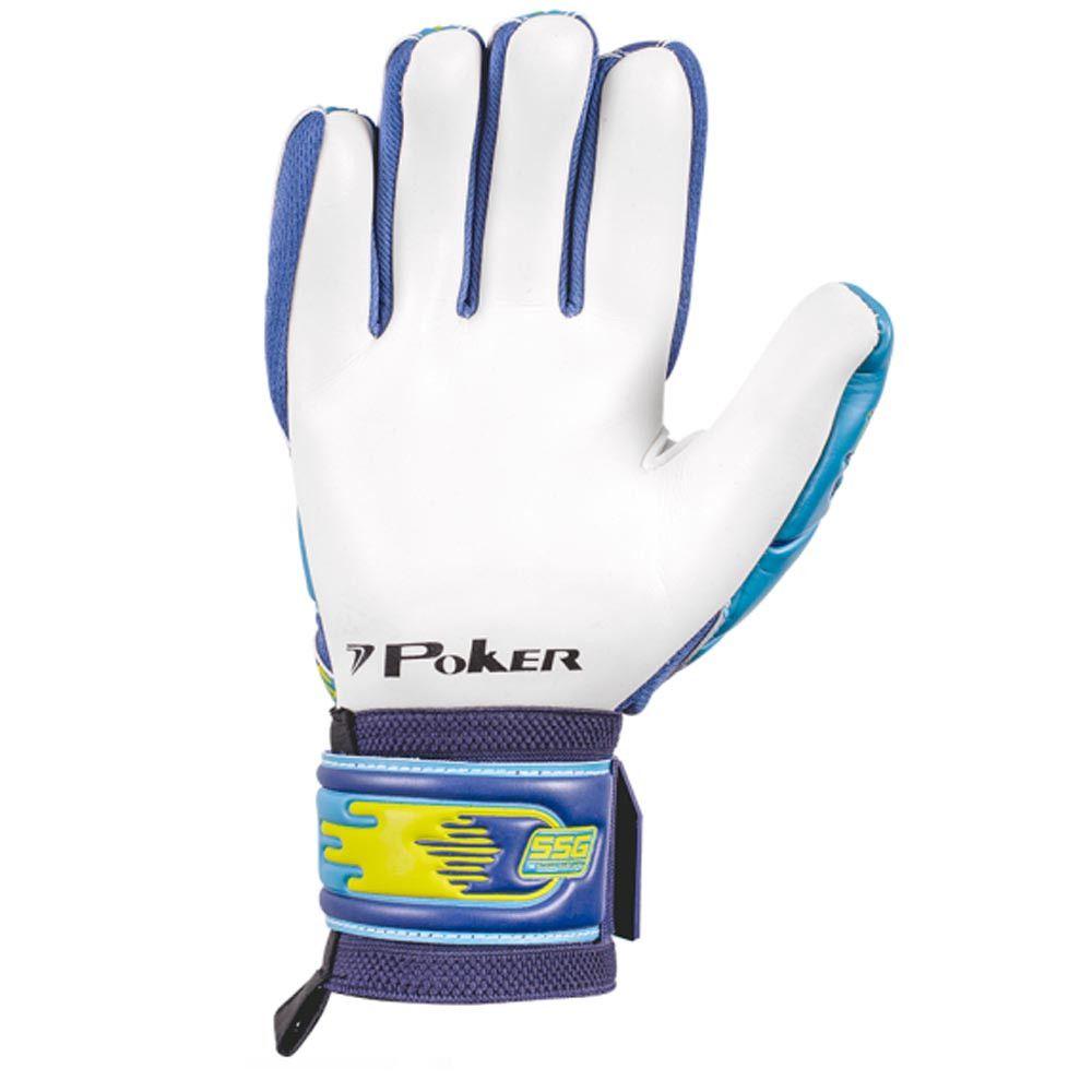 Luva De Goleiro Poker Hug Flex Profissional - Azul/Branco