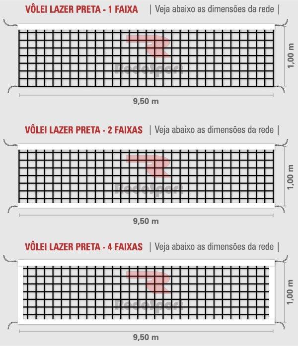 Rede de Vôlei Redesport Lazer 1 Faixa 9,5 m