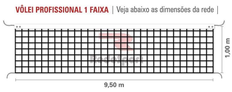 Rede De Vôlei Profissional Redesport 1 Faixa 9,5 m