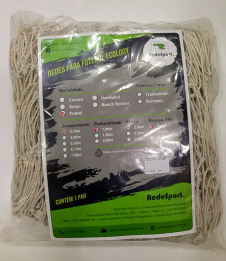 Rede Redesport de Futsal Ecology Fio Nylon Fino 3,10m PE