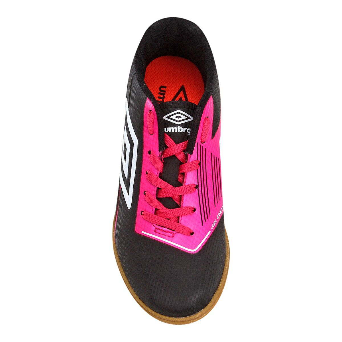 Tênis futsal Umbro Light Control - Feminino - Preto e Rosa