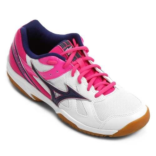 Tênis Mizuno Cyclone Speed Indoor Feminino - Branco/Rosa
