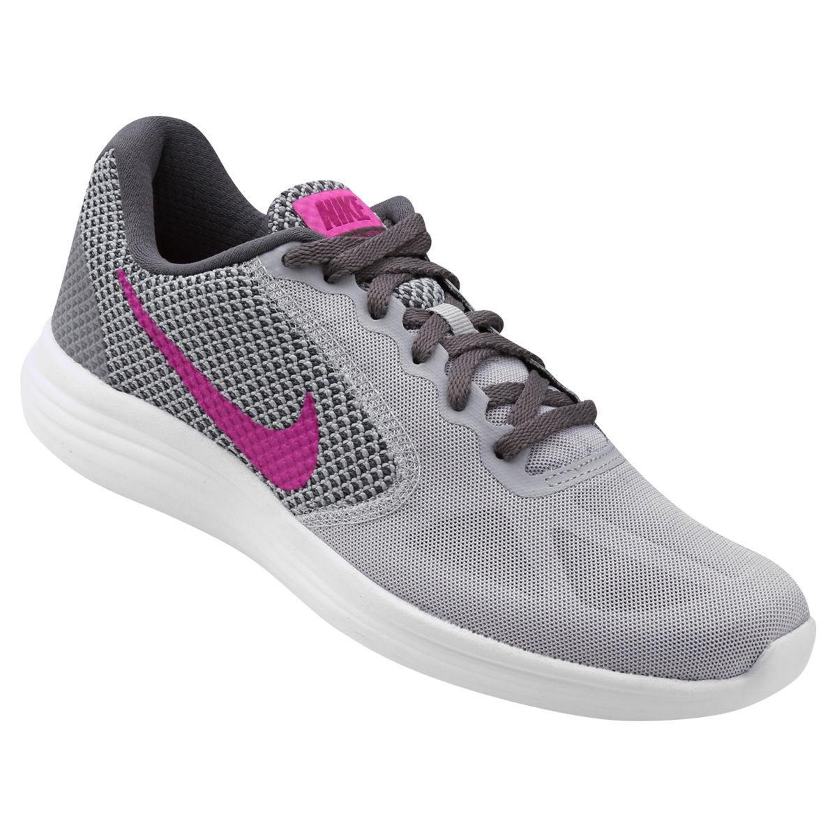 Tênis Nike Revolution 3 Feminino - Cinza/Rosa