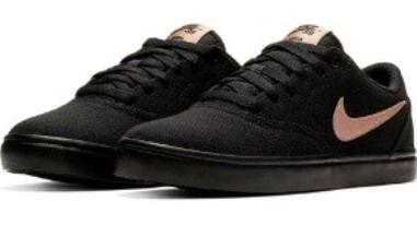 Tênis Nike SB Check Solar CNVS - Feminino - Preto e Bronze