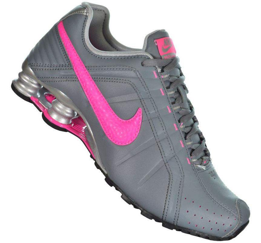 Tênis Nike Shox Junior Feminino - Grafite e Rosa