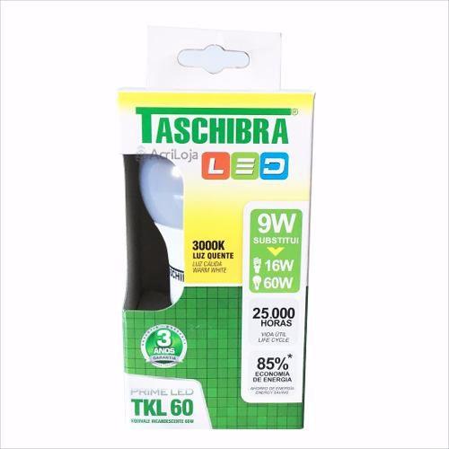 Lampada Led Bulbo Amarela Quente 9w 3000k Taschibra Tkl60 | Kit 50 unidades