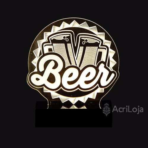 Abajur De Mesa LED em Acrílico 3d Beer, Cerveja, Choop, 110/220v, Abajur para quarto e sala