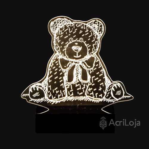 Abajur De Mesa LED em Acrílico 3d Urso de Pelucia 110/220v, Abajur para quarto e sala