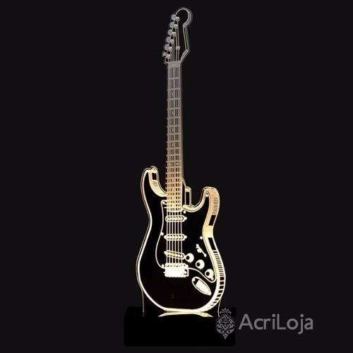 Abajur De Mesa LED em Acrílico 3d Guitarra, Musica 110/220v, Abajur para quarto e sala