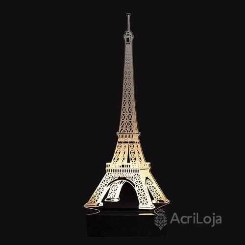 Abajur De Mesa LED em Acrílico 3d Paris, Torre Eiffel 110/220v, Abajur para quarto e sala