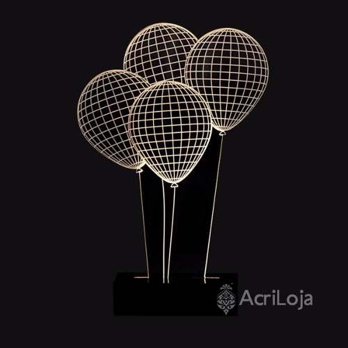 Abajur De Mesa LED em Acrílico 3d Balões 110/220v, Abajur para quarto e sala