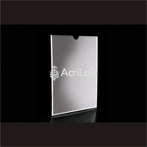 Display Acrilico A De Parede Para Folha A4, Com Filete e Com fundo