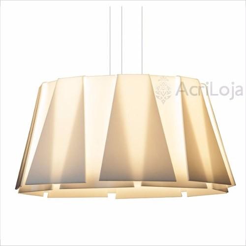 Luminaria Pendente Sion Em Acrílico Branco 100 Cm 6 Lâmpadas, Lustre de Teto