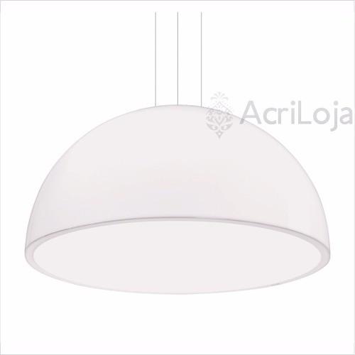 Luminaria Pendente Órion Em Acrílico Branco 45cm, Lustre de Teto