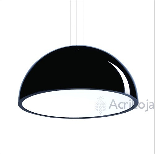 Luminaria Pendente Órion Em Acrílico Preto 80cm, Lustre de teto