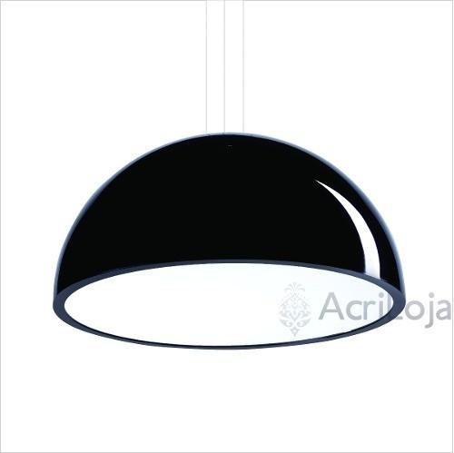 Luminaria Pendente Órion Em Acrílico Preto 100cm, Lustre de teto