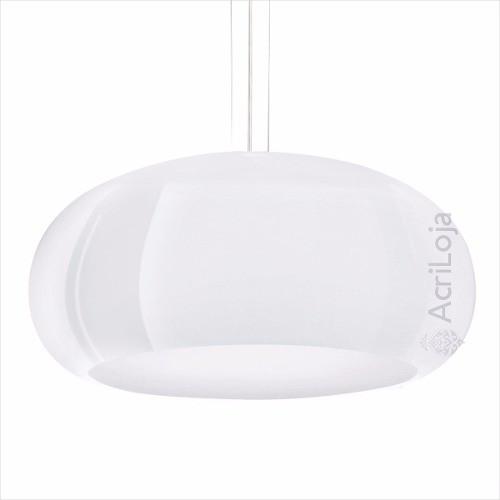 Luminaria Pendente Póllux em Acrilico Branco 45cm, Lustre de Teto