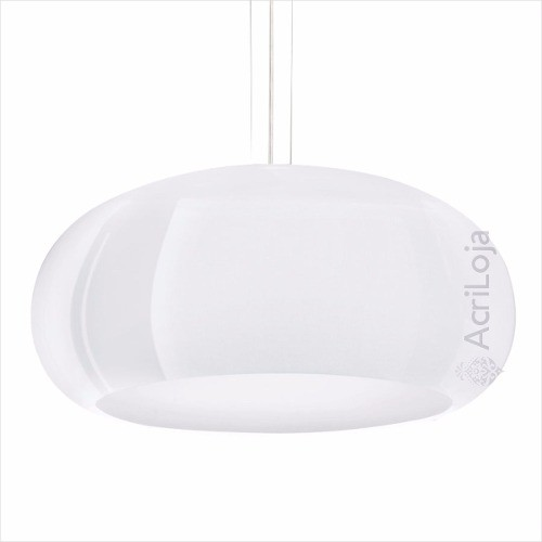 Luminaria Pendente Póllux em Acrilico Branco 80cm, Lustre de Teto