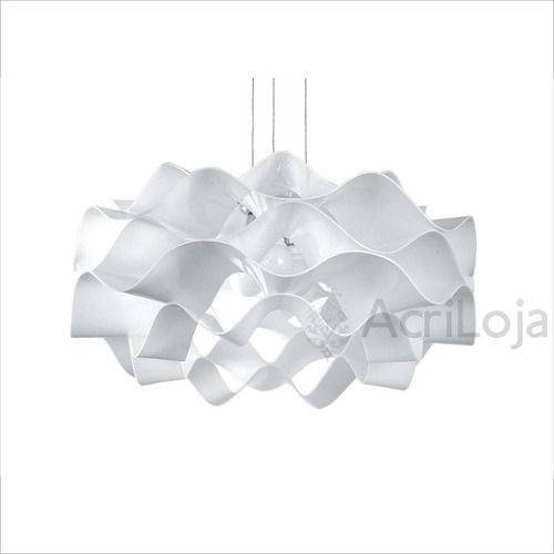 Luminaria Pendente Circe em Acrilico Branco 45cm, Lustre de Teto