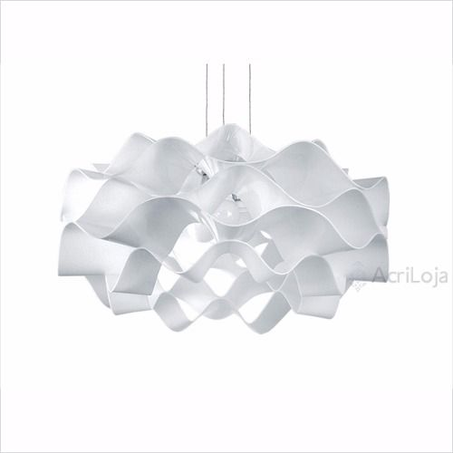 Luminaria Pendente Circe em Acrilico Branco 60cm, Lustre de Teto