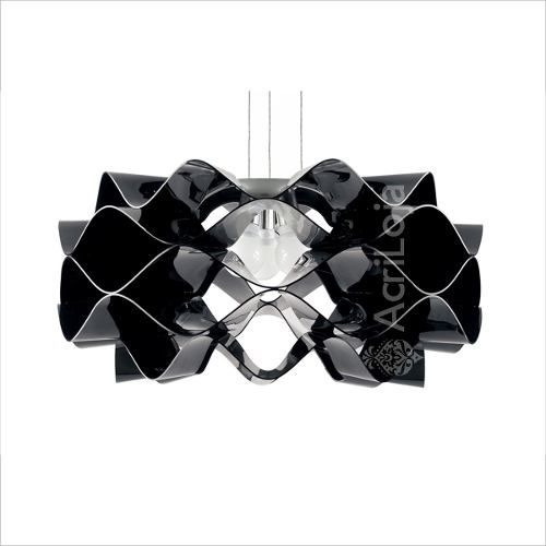 Luminaria Pendente Circe em Acrilico Preto 60cm, Lustre de Teto