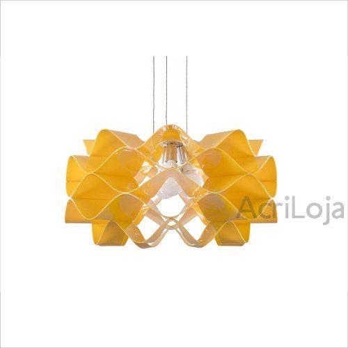 Luminaria Pendente Circe em Acrilico Amarelo 80cm, Lustre de Teto
