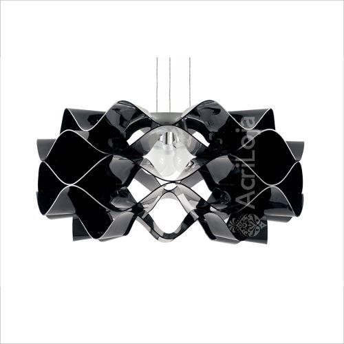 Luminaria Pendente Circe em Acrilico Preto 80cm, Lustre de Teto