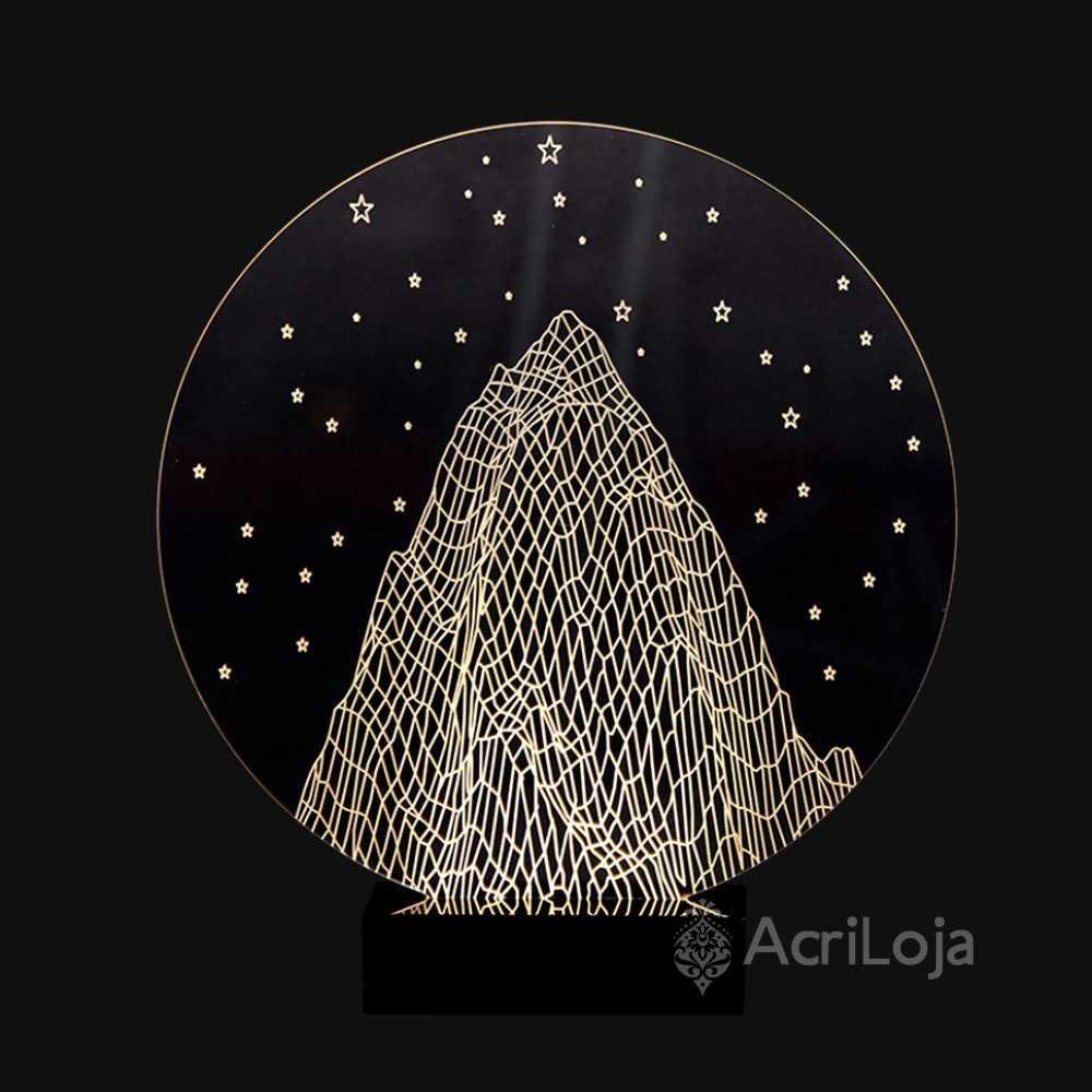 Abajur De Mesa LED em Acrílico 3d Montanha 110/220v, Abajur para quarto e sala