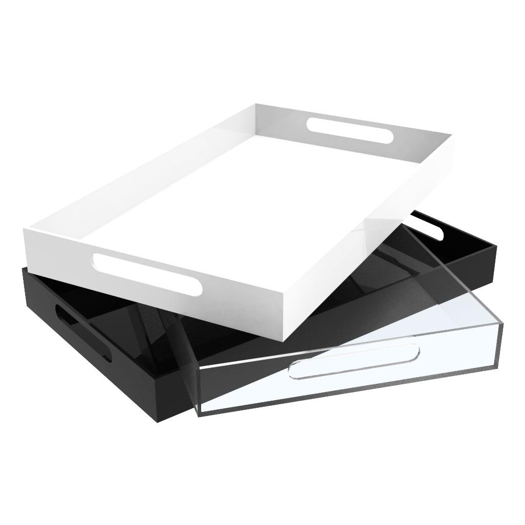 Bandeja de Acrilico 40x30cm Cor Transparente, Preto ou Branco