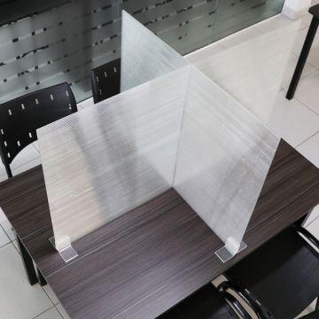 Barreira de Proteção Com 4 divisórias para Mesas de Refeitórios, Restaurantes e Lanchonetes
