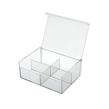 Caixa de Acrilico Organizadora com 4 divisórias - Tam. 20x15cm