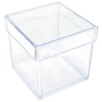 Caixa de Acrilico Transparente Com Tampa Quadrada 25x25x25cm