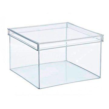 Caixa de Acrilico Transparente Com Tampa Retangular 40x25x20cm
