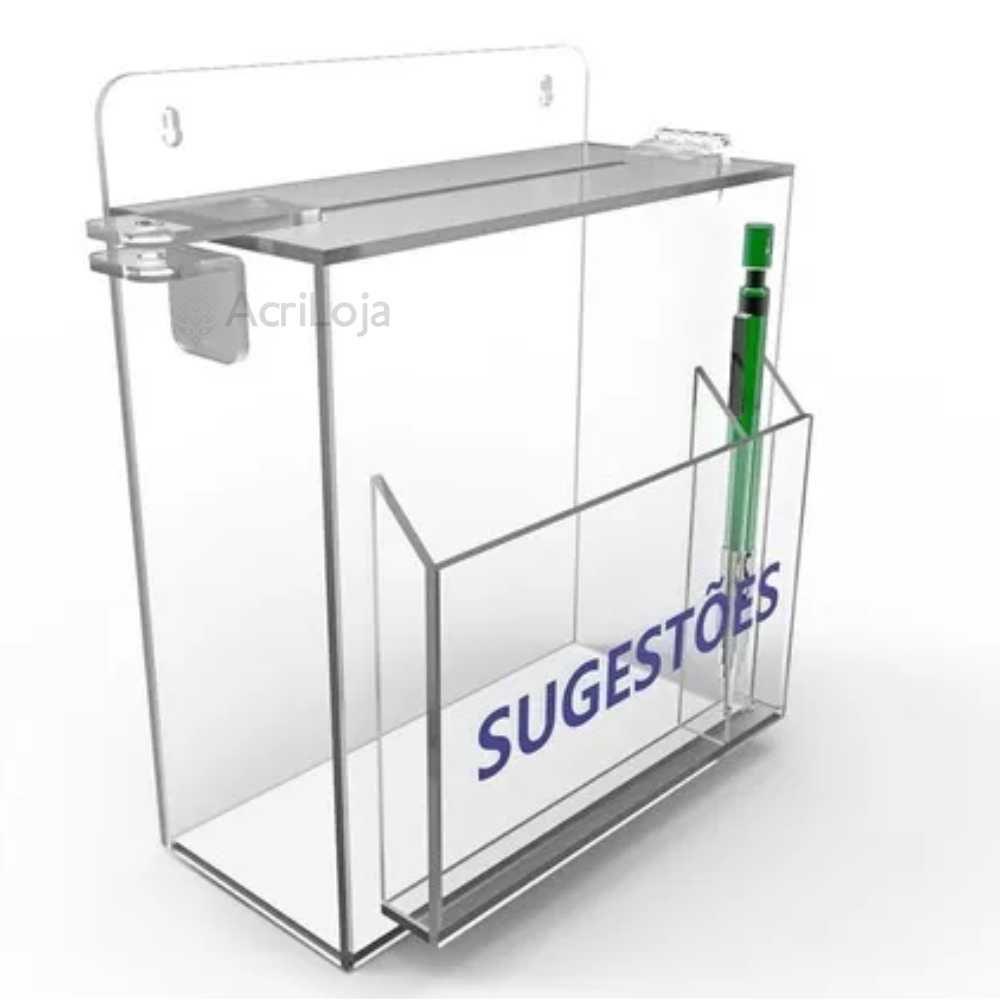 Caixa de sugestão em acrilico transparente 25x35cm, urna de sugestão