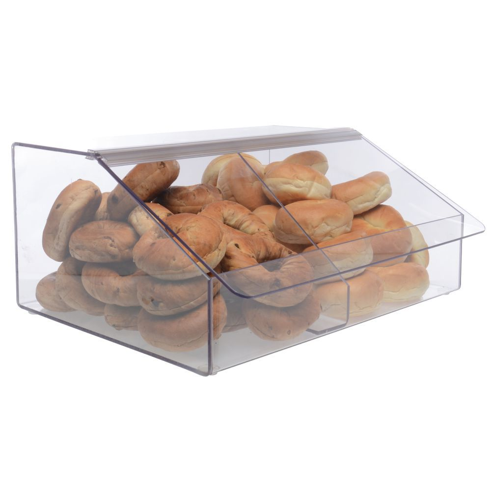 Caixa, Pote, Expositor de Acrílico com divisória para alimentos secos, grãos, doces e produtos a granel, modelo 4