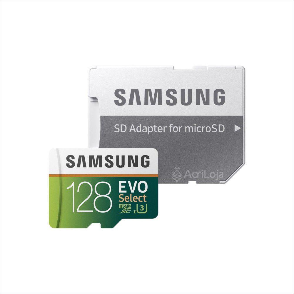 Cartão de Memória Samsung MicroSDXC EVO Select 128GB Classe 10, U3 e 4K UltraHD, Com Adaptador SD