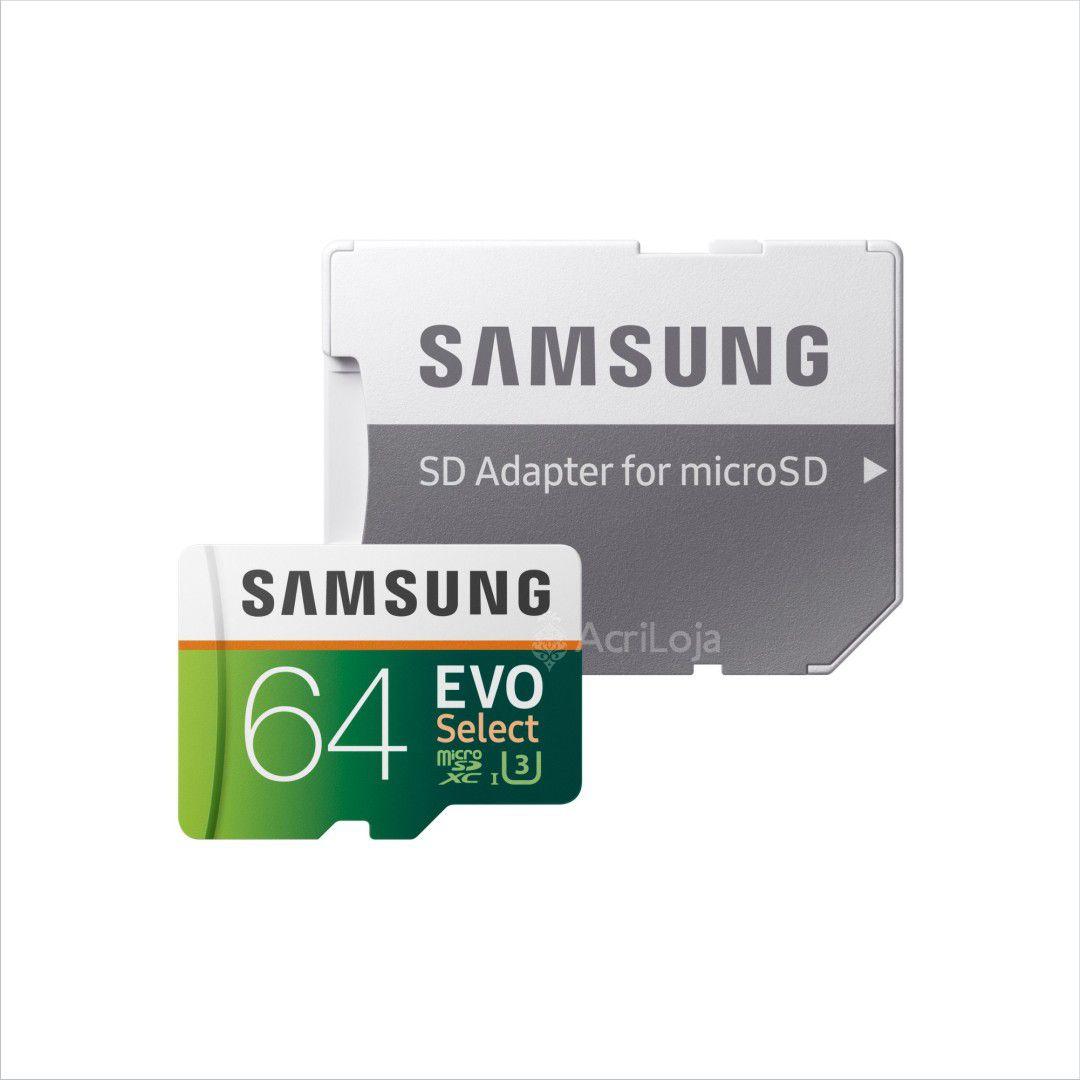 Cartão de Memória Samsung MicroSDXC EVO Select 64GB Classe 10, U3 e 4K UltraHD, Com Adaptador SD