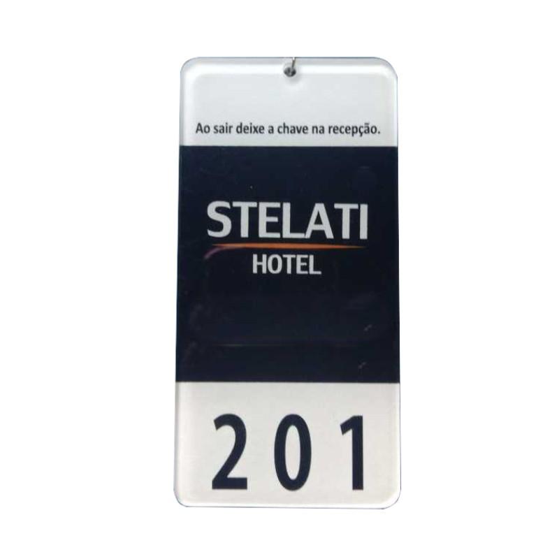 Chaveiro Personalizado de Acrilico Para Quarto de Hotel e Pousada, Tamanho 4x7cm Com Impressão Digital Colorida