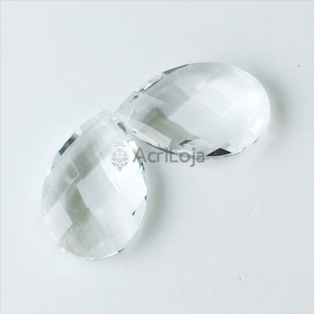 Cristal Gota 38mm - Kit 100 unidades - Cristais para Lustres, Luminárias e Artesanato