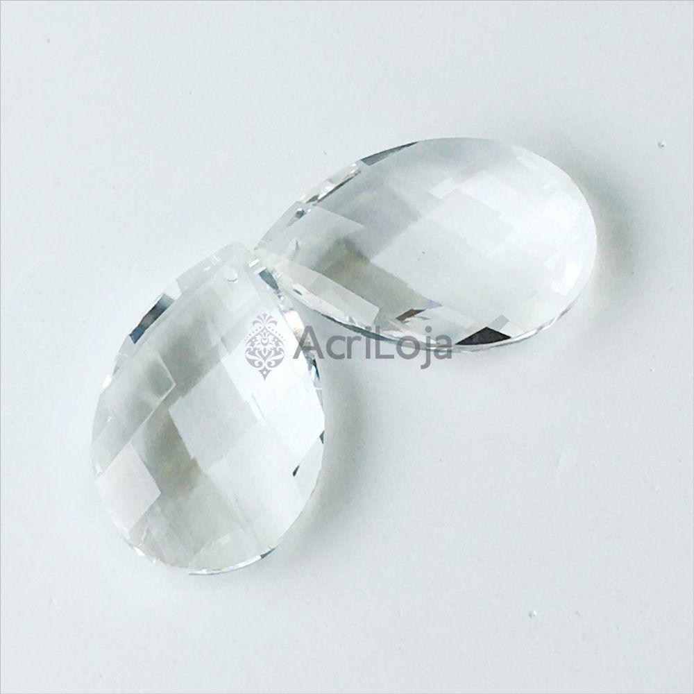 Cristal Gota 50mm - Kit 100 unidades - Cristais para Lustres, Luminárias e Artesanato