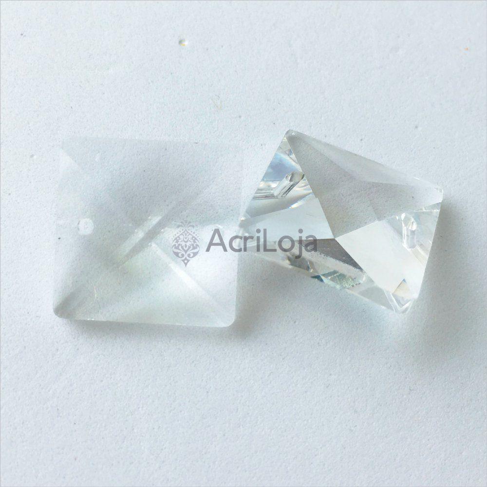 Cristal Quadrado 18mm - Kit 100 unidades - Cristais para Lustres, Luminárias e Artesanato