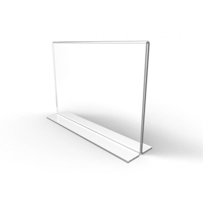 Display De mesa de acrilico Folha A3 Em T Horizontal