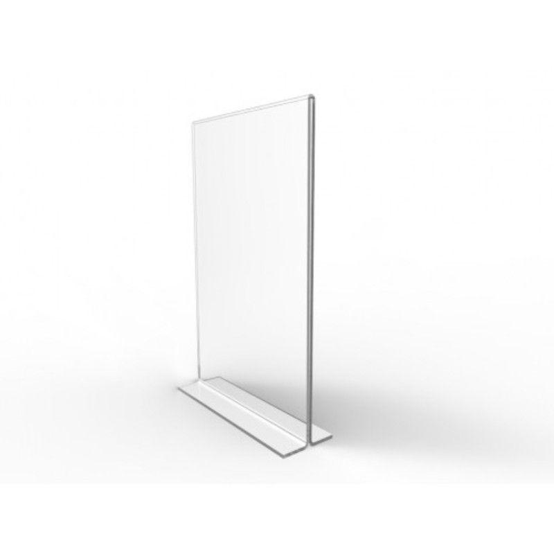 Display De mesa de acrilico Folha A3 Em T Vertical