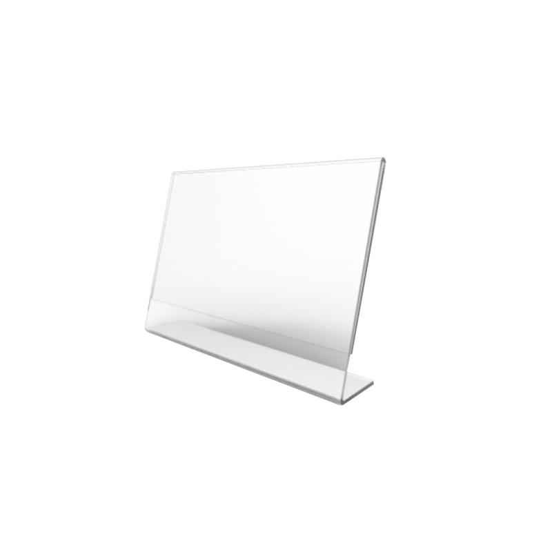 Display Porta Preços E Etiquetas De Mesa Em Acrílico Modelo L Horizontal, Display para Buffet, Restaurante| KIT 50 UNIDADES