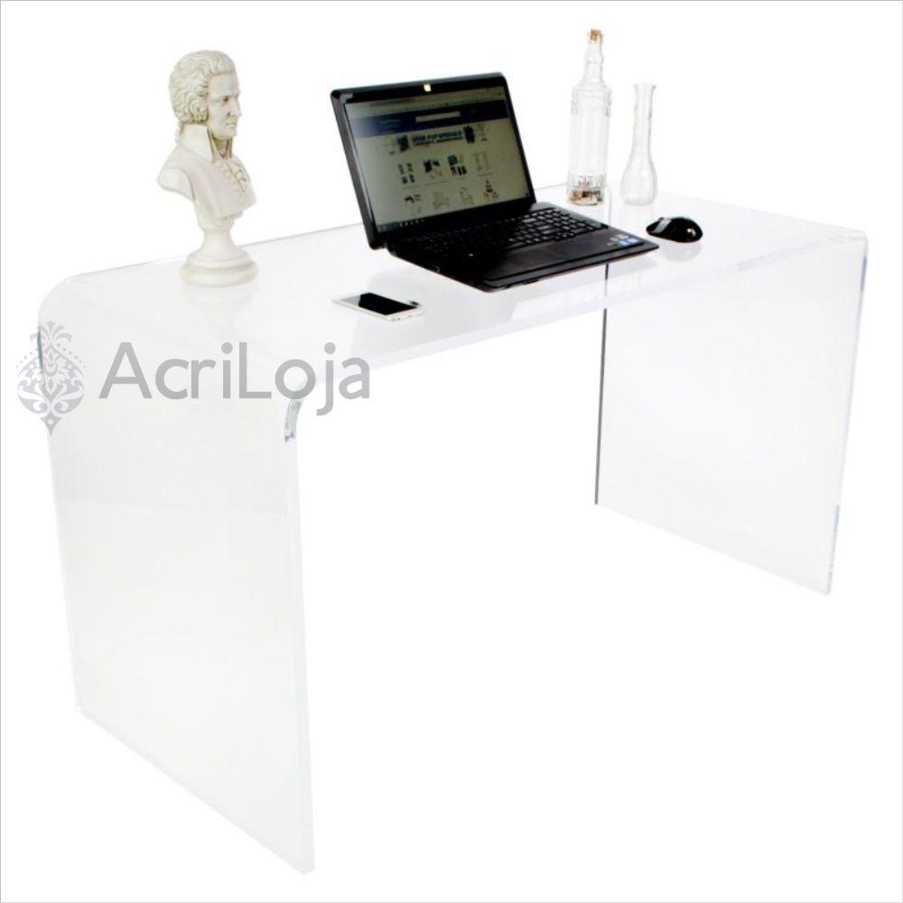 Escrivaninha, Mesa de Computador de Acrílico Para Quarto, Sala e Escritório- Tam. 130x73x60cm