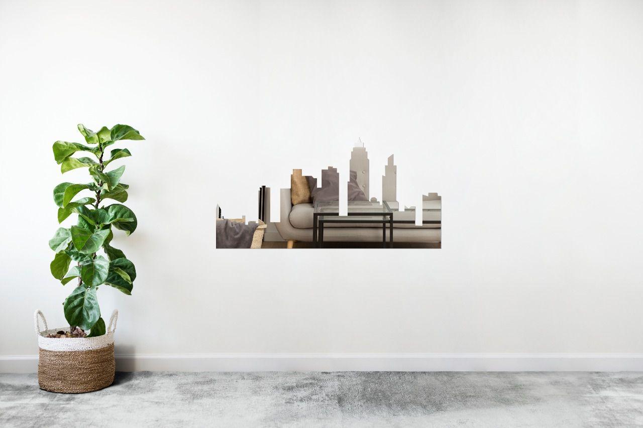 Espelho Decorativo em Acrilico Para Parede de Sala, Quarto, Cozinha e Escritorio - Modelo Cidade
