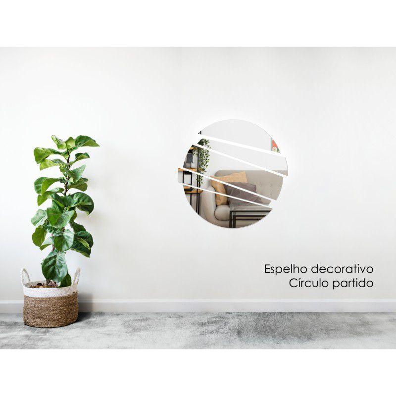 Espelho Decorativo em Acrilico Para Parede de Sala, Quarto, Cozinha e Escritorio - Modelo Circulo Partido