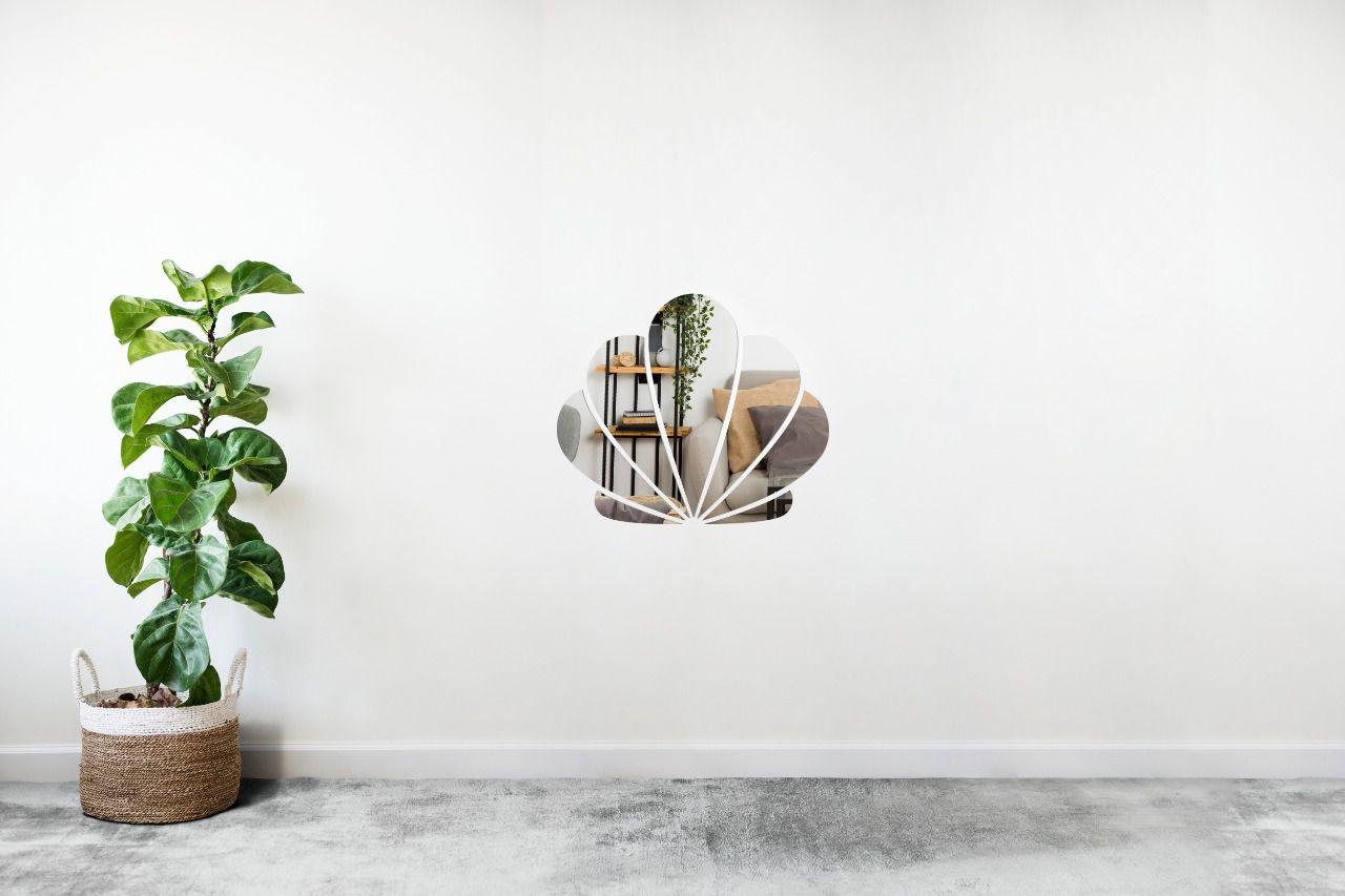 Espelho Decorativo em Acrilico Para Parede de Sala, Quarto, Cozinha e Escritorio - Modelo Concha