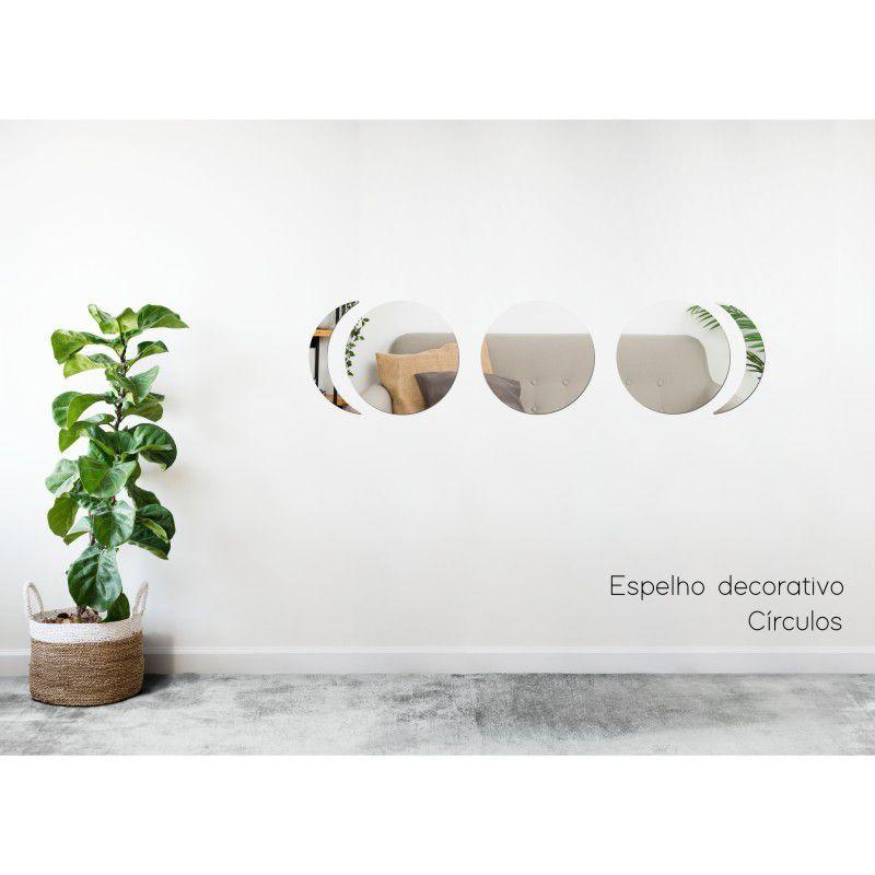 Espelho Decorativo em Acrilico Para Parede de Sala, Quarto, Cozinha e Escritorio - Modelo Conjunto Circulo