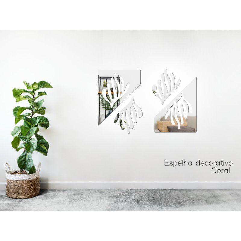 Espelho Decorativo em Acrilico Para Parede de Sala, Quarto, Cozinha e Escritorio - Modelo Conjunto Coral